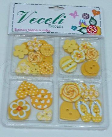 Botões Artesanais Kit Compose Amarelo