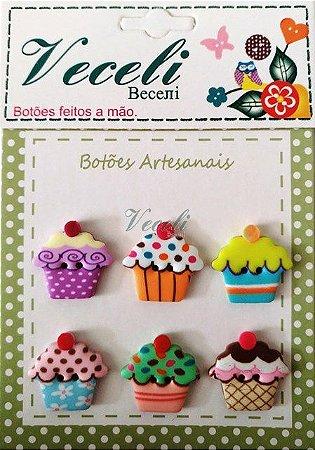 Botões Artesanais Cupcake
