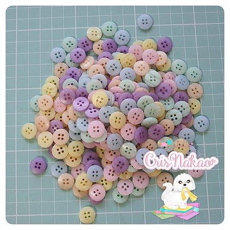 Botão Mix Pastel 4 furos 12,7mm - 24 unidades