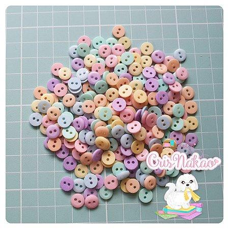 Botão Mix Pastel 2 furos 8mm - 24 un