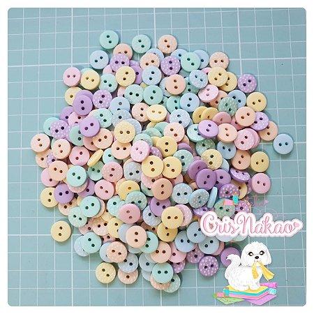 Botão Mix Pastel Poá 2 furos 11,5mm - 12 unidades
