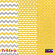 Feltro Estampado Composê Geométrico – Amarelo