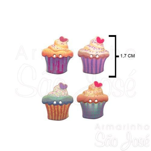 Botão Patchwork We Care About Cupcake Coração/Creme