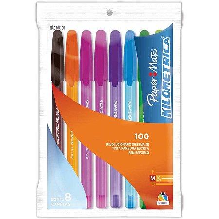 Caneta esferografica Kilometrica 100 Colorz 8cores Paper Mate