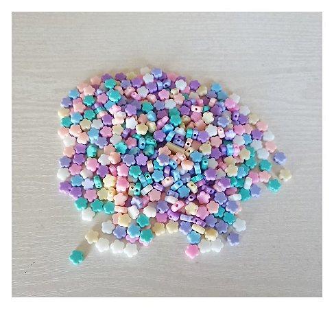 Miçanga Cores Candy Flor - Furo Passante - 20un
