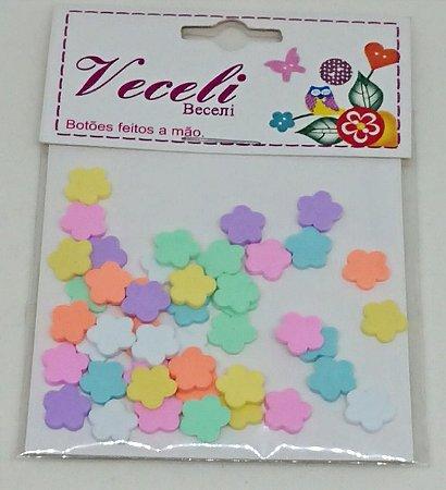 Botões Artesanais Florzinhas Algodão Doce Slime