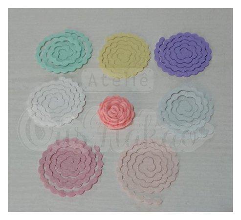 Recortes Espirais para Rosas em Feltro 4cm Modelo 3 - 12 un