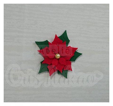 Recortes em Feltro Flor de Natal 6 cm - 6 unidades
