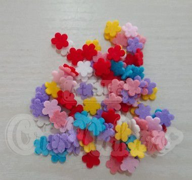 Kit Recortes em Feltro  Flor 5 Pontas - 1cm - 100 un