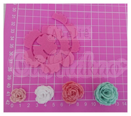 Recortes Espirais para Rosas em Feltro 9 cm Modelo 2 - 10 un (montada Aprox 3,5cm)