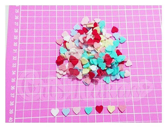 Kit Recortes em Feltro Corações Modelo 1 - 2 cm - 100 un