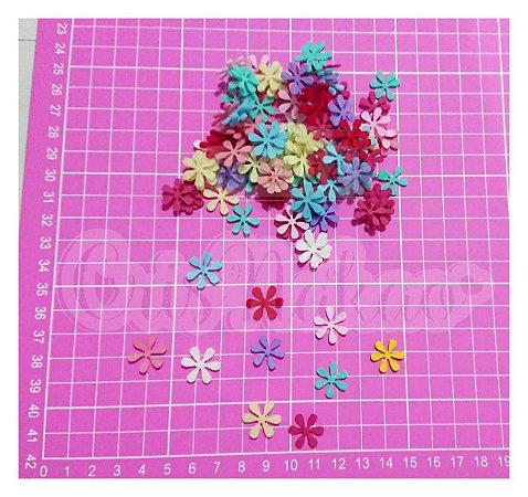 Kit Recortes em Feltro  Flor 6 Pontas  Mod 2 - 2 cm - 100 un