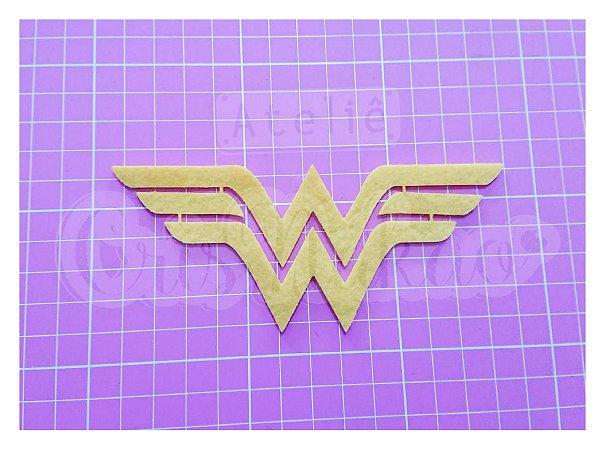 Recortes Em Feltro Emblema Super Herois Mulher Maravilha 4 Un