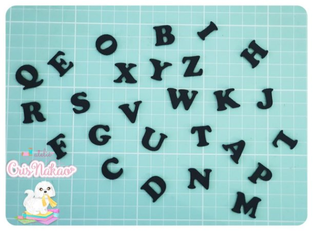 Kit Recortes em Feltro Alfabeto 26 Letras - 4cm Altura