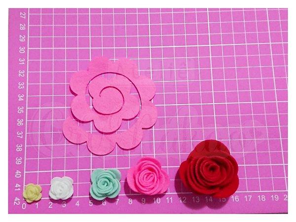 Recortes Espirais para Rosas em Feltro 8cm - 10 un (Montada aprox 3 cm)