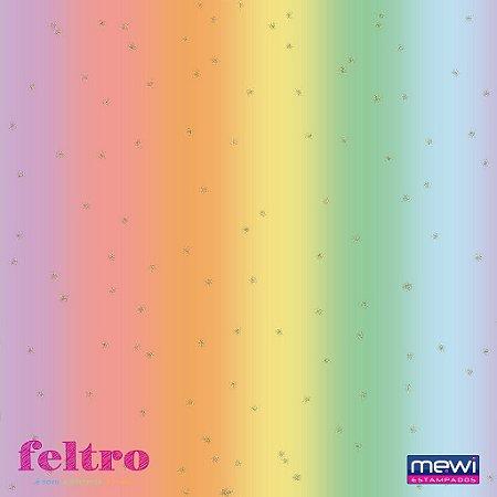 Feltro Glitter Mewi Aquarela Arco Iris