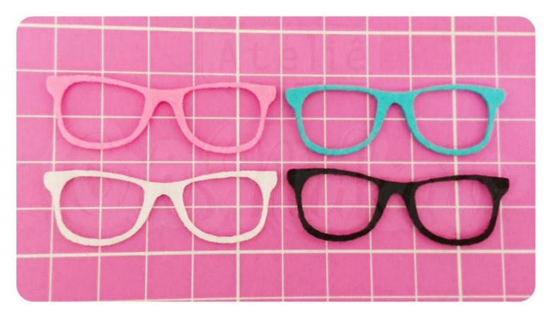 Kit Recortes em Feltro  Óculos Tradicional 4cm - 10 un