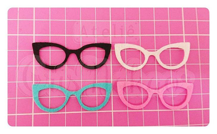 Kit Recortes em Feltro  Óculos Gatinho 4cm - 10 un