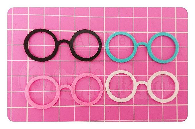Kit Recortes em Feltro  Óculos Redondo 4cm - 10 un