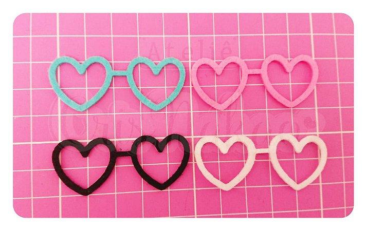 Kit Recortes em Feltro  Óculos Coração 4cm - 10 un