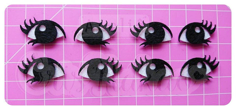 Recortes em Feltro Olhos Modelo 2- 10 Pares