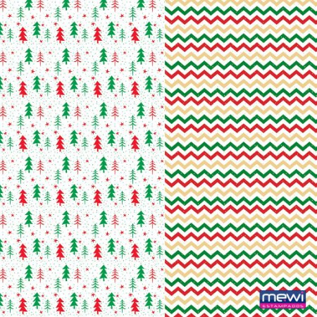 Feltro Estampado Composê  Natal Árvore e Chevron