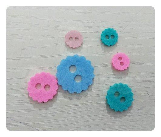 Botões de Flor Recortes em Feltro 1,5cm - 50un