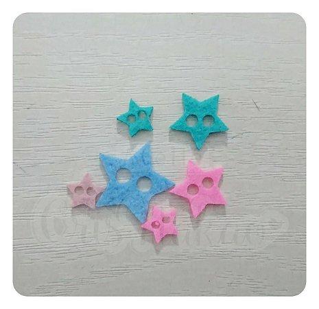 Botões de Estrela Recortes em Feltro 1cm - 50un