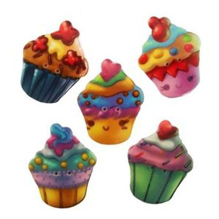 Kit Botões Cupcake  We Care About -  5 unidades