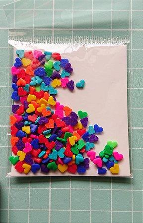 Botões Artesanais Corações Coloridos Slime
