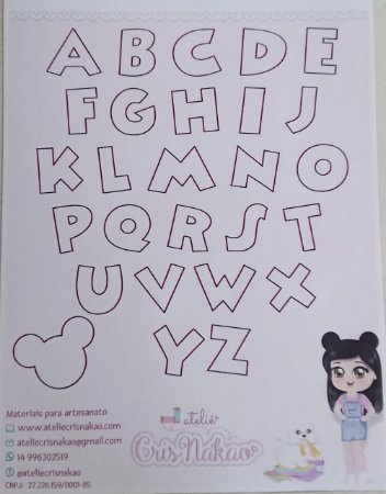 Gabarito Alfabeto Disney (escolha o tamanho)