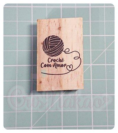Carimbo Artesanal - Croche com Amor 5,5x3,5cm