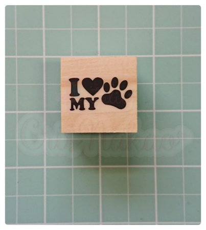 Carimbo Artesanal - I love my pet 3x3cm