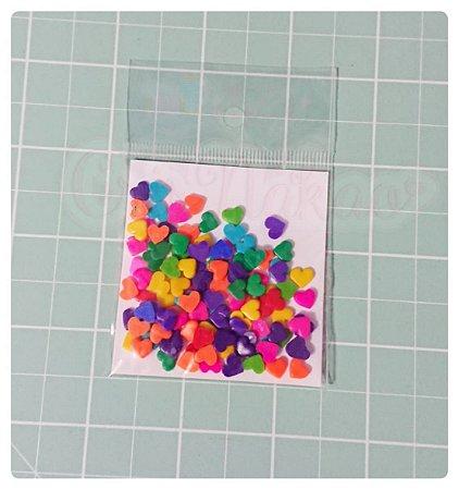 Botões Artesanais Corações coloridos g