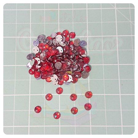 Botão Chaton Redondo Vermelho 6mm- 20 unidades