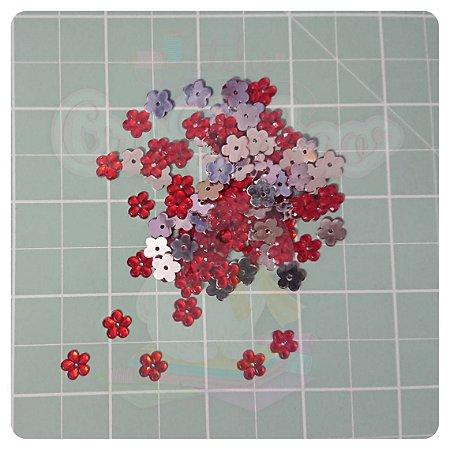 Botão Chaton Flor 8mm Vermelho - 20 unidades