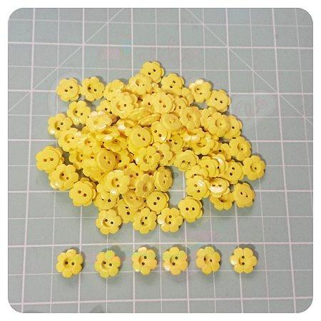 Botão Flor 12mm Amarelo - 20 unidades