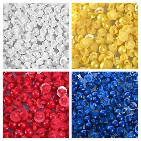 Botão Pérola Colorido com Pé - 12 unidades