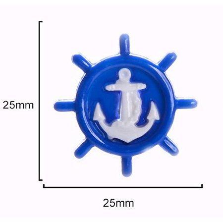 Botão Infantil Âncora Azul/Branco - 10 unidades