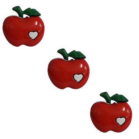 Botão Infantil Maça Coração - 10 unidades
