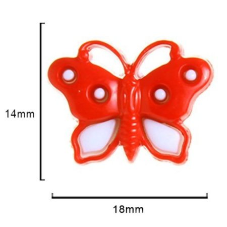 Botão Borboleta -  Vermelho  c/ Branco 18mmx 14mm 10un