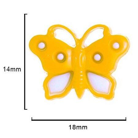 Botão Borboleta -  Amarelo  c/ Branco 18mmx 14mm 10un