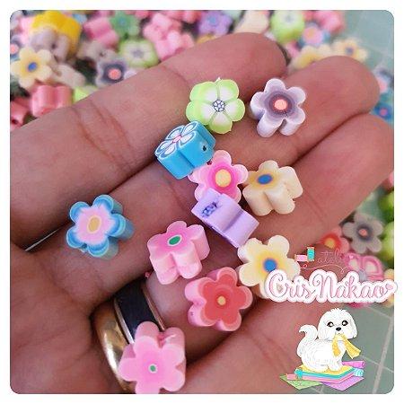 Aplique de Flor 10mm em pvc colorido 12 un