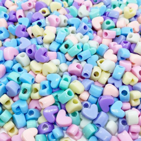 Miçanga Colorida Infantil - Coração Candy 20un