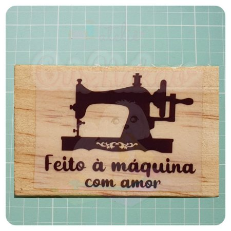 Carimbo Artesanal -Feito à máquina com amor 5,5x3,5cm