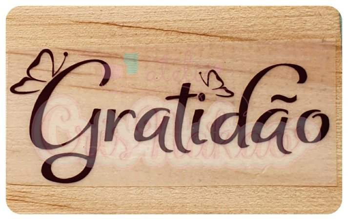 Carimbo Artesanal Gratidão Borboletas 5,5x3,5cm