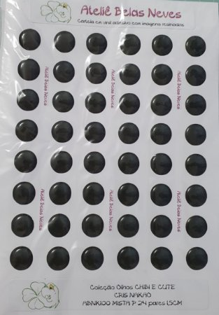 Olhos Resinados ABNK100 P 24 pares 1,5cm