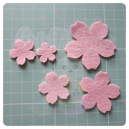 Recorte em Feltro - Flor de Cerejeira (sakura) - 24un