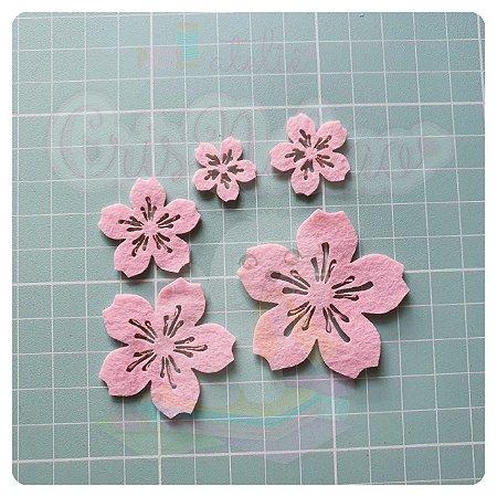 Recorte em Feltro - Flor de Cerejeira Vazada (sakura) - 24un