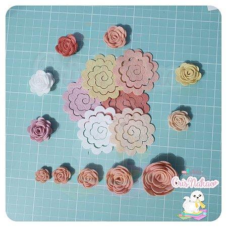 Recortes Em Feltro Espirais para Rosas 5cm - Modelo  5 (Fica Aprox 2,5cm) - 12un